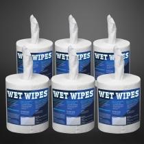 Wet Wipes 620 alkoholfreie, fertig getränkte Desinfektionstücher für alle Oberflächen 6 Rollen á 620 Tücher (3720 Tücher)
