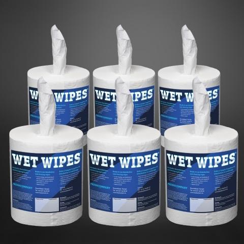 Wet Wipes 750 alkoholfrei getränkte Desinfektionstücher 6 Rollen á 750 Tücher (4500 Tücher)