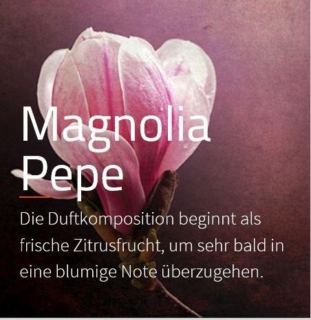 Zaluti, Aromaöl Magnolia Pepe ***  Diese Komposition eröffnet mit frischer Zitrusnote der Bergamotte und kündigt ein blumiges Herz an.