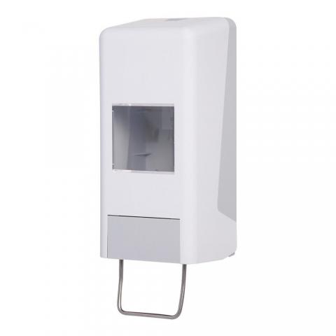Handwaschpastenspender für Grobreiniger und  Hautschutzmittel  variabel einsetzbarer Spender für alle 1.000-ml-und 2.000ml Softflaschen, stabiles Gehäuse aus Kunststoff, einfache Handhabung und Befüllung, zuverlässig im Gebrauch, für Duschräume geeignet