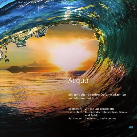Acqua *****  Ein erfrischender und dennoch softer Duft mit Spuren von Melone und Rose