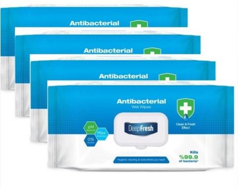 DeepFresh Desinfektionstücher Feuchttücher Reinigungstücher-  Flowpack à 100 Tücher