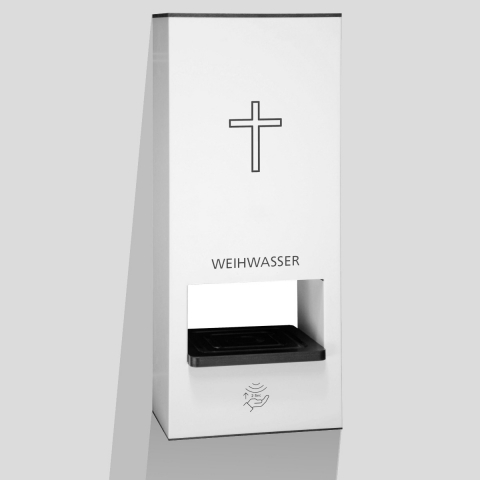 Weihwasser-Wandspender weiss mit 1 Liter Sensorspender berührungslose Ausgabe des Weihwassers