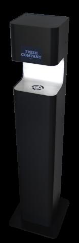Händedesinfektionssäule Premium Sensor non touch schwarz matt