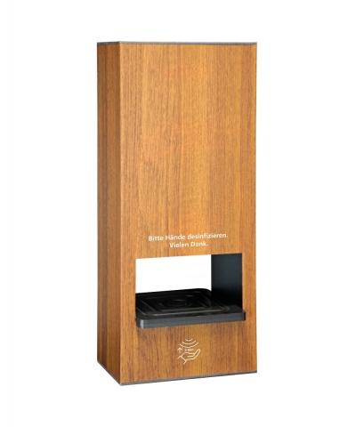 Händedesinfektionsspender Sensor non touch  Tischmodel 1 Liter Holzstruktur