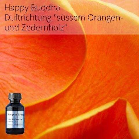 Happy Buddha - Duft zaubert ein strahlendes Lächeln auf Ihr Gesicht! Dieser energetisierende Duft von süssem Orangen- und Zedernholz basierend, stimuliert sofort Ihre Stimmung und schafft eine warme Atmosphäre.  VE: 100 ml praktische Nachfüllflasche für