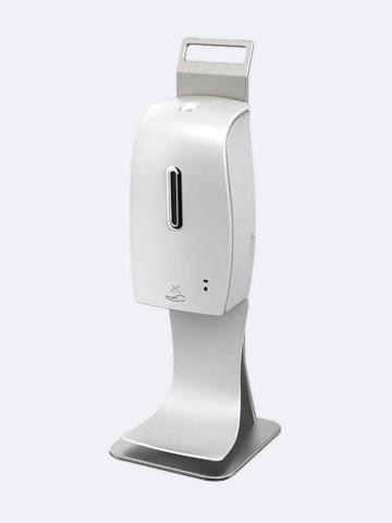Desinfektionsmittelspender Sensor Automatik 600ml für berührungslose Spray Ausgabe Standmodel weiss