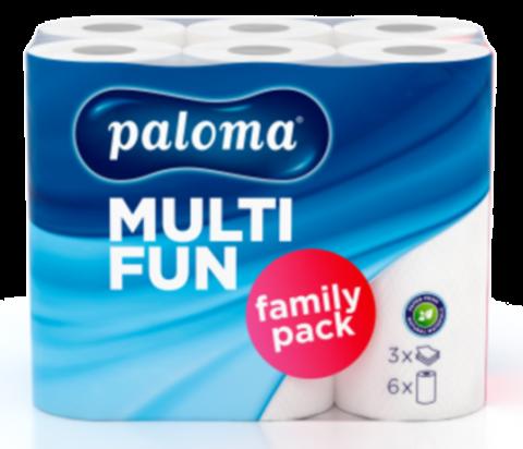 Paloma Exclusive Küchenrolle 3-lagig, weiß, 6 x 50 Blatt (24 x 26 cm) - 6 Rollen