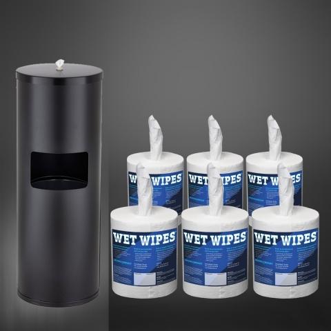 Wet Wipe Angebot 1 x Standspender All-in-One schwarz  plus 1 Karton Wet Wipes 6 x 620 getränkte Desinfektionstücher