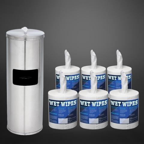 Wet Wipe Angebot 1 x Edelstahlstandspender All-in-One plus 1 Karton Wet Wipes 6 x 620 getränkte Desinfektionstücher