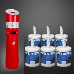 Wet Wipe Angebot 1 x Standspender rot  plus 1 Karton Wet Wipes 6 x 620 getränkte Desinfektionstücher