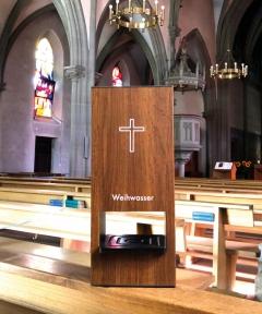 Weihwasser-Tischspender Holz-Look mit 1 Liter Sensorspender berührungslose Ausgabe des Weihwassers