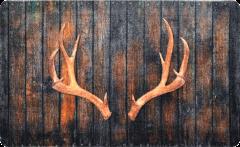 Geweih auf Holzwand Style • Fussmatte Innen Aussen • rutschfest und waschbar • Schmutzfangmatte • Türmatte