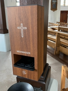 Weihwasser-Wandspender Holz-Look mit 1 Liter Sensorspender berührungslose Ausgabe des Weihwassers