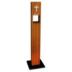 Weihwasser-Standspender Holz-Look mit 1 Liter Liquid Sensorspender berührungslose Ausgabe des Weihwassers